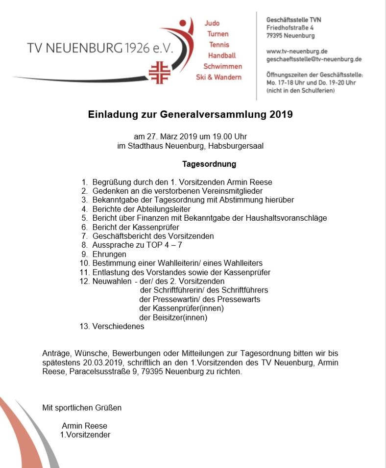 Generalversammlung des TVN am 27.03.2019