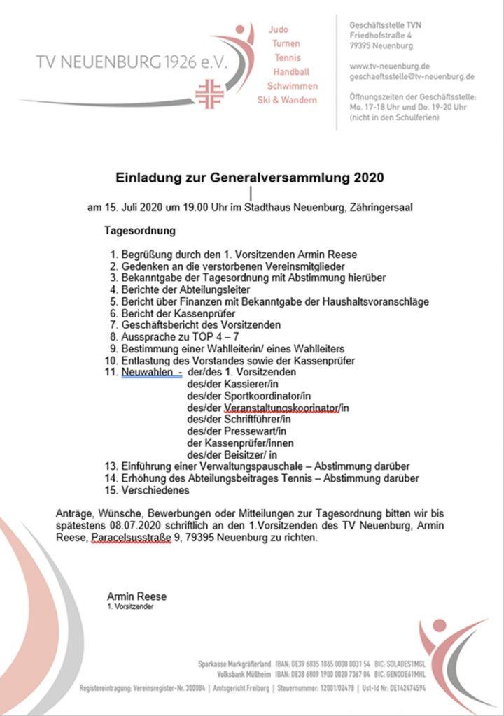 Generalversammlung am 15 Juli 2020
